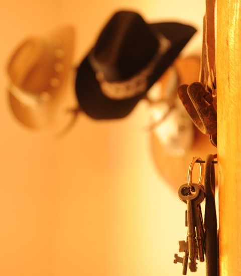 cowboy hat and keys